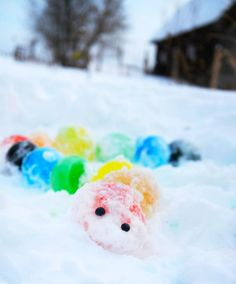 """Bring some colour to the deep freeze with this fun rainbow ice activity! Kids can use a """"glue"""" of snow and water to build towers, creatures and art out of colourful ice orbs. Forest School Activities, Snow Activities, Winter Activities For Kids, Preschool Activities, Family Activities, Fun Crafts, Crafts For Kids, Diy Projects To Try, Art Projects"""
