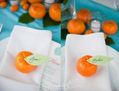 Oranges used for the place cards. Love that it's fresh and colorful all while natural and inexpensive.