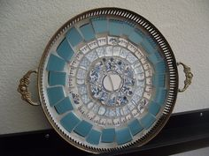 aqua tray - old silverplate tray (in bad shape) tiled w/ broken china plates -- by TheMosaicButterfly, via Flickr