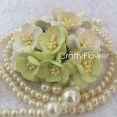 50 cherry Blossom morbido verde bianco ragazzo piccolo Mulberry fiori Scrapbooks Wedding Cupcake carte bambole mestieri Rose di carta 161-15/S3