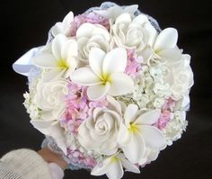 Free Shipping Hand-made white frangipani plumeria Wedding bouquet /very real