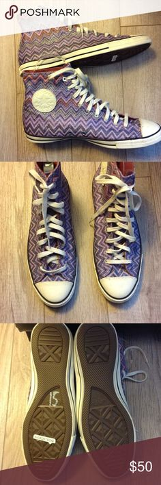 Converse Missoni purple high tops Super cute sparkly purple high tops. Never worn but front scuffs from closet on tips. Missoni Shoes Sneakers