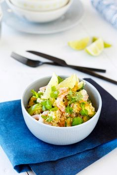 Katkarapu-kuskussalaatti // Couscous with Shrimp & Lime Food & Style Elina Jyväs Photo Joonas Vuorinen Maku 2/2015, www.maku.fi