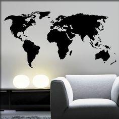 Weltkarte Wandtattoo Wandsticker | Wandtattoos