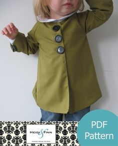 Chic Everyday Coat pattern and tutorial PDF 12M6T by heidiandfinn. $6.00, via Etsy.