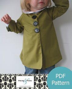 Chic Everyday Coat pattern and tutorial PDF 12M-6T easy sew epattern jacket. $6.00, via Etsy.