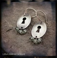 sterling silver and moss aquamarine handmade keyhole earrings by www.lissaharlindesigns.com