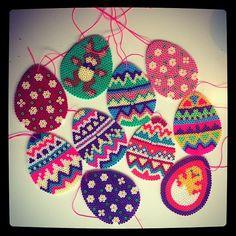 Easter eggs hama perler by Hama Beads Design, Hama Beads Patterns, Beading Patterns, Perler Bead Designs, Easter Projects, Easter Crafts, Beading For Kids, Perler Bead Templates, Peler Beads