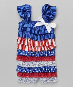 Another great find on #zulily! Blue & Red Stars & Stripes Ruffle Romper - Infant & Toddler #zulilyfinds
