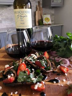 Muscedere Vineyards 2016 Merlot with Strawberry Salad Stuffed Portobella Mushrooms. Wine Dinner, Essex County, Stuffed Mushrooms, Stuffed Peppers, Fresh Basil Leaves, Balsamic Vinegar, Arugula, Wineries, Caprese Salad