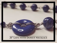 Lapis with Donut Necklace and Earrings Rock Necklace, Pocket Watch, Donuts, Rocks, Necklaces, Free Shipping, Earrings, Accessories, Frost Donuts