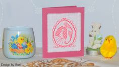 Design by Suzi: Lesley Teare - Happy Easter! Crossstitch, Happy Easter, Easter Eggs, Jar, Spring, Design, Cross Stitch, Happy Easter Day, Punto De Cruz