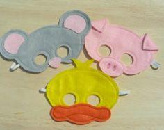 Máscaras de animales de granja de tamaño de niño por Mahalo en Etsy