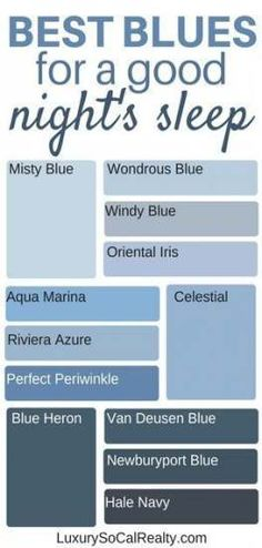 Paint Colors Bedroom//Bedroom Master//Bedroom Ideas//Bedroom Decor//Paint Color For Home//What are the best blue paint colors for a good night's sleep? by Joy Bender Luxury Real Estate Agent Compass San Diego REALTOR&reg paint colors paint colors Best Blue Paint Colors, Best Bedroom Colors, Blue Bedroom Decor, Paint Colors For Home, House Colors, Bedroom Boys, Blue Paint For Bedroom, Blue Ceiling Bedroom, Wood Bedroom