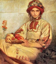 Croatian Woman with Apples Alfons Mucha (Checoslovaquia, Art Nouveau Art Nouveau, Art Deco Artwork, Cool Artwork, Christmas In America, Alphonse Mucha Art, Reproduction, Portrait Art, Portraits, Oeuvre D'art