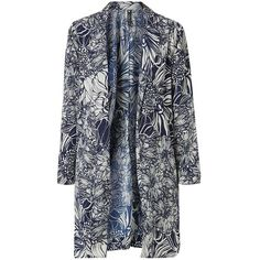 Influence White Crepe Floral Print Duster Coat (£10) ❤ liked on Polyvore featuring outerwear, coats, jackets, tops, white duster coat, floral coat, duster coat, floral print coat and white coat