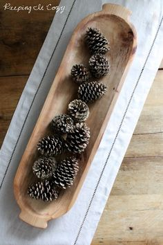 Today I wanted to share the story of my dough bowl with you. You may have noticed it sitting on our living room shelves a couple post. Rustic Bowls, Wood Bowls, Sugar Mold, Wooden Dough Bowl, Living Room Shelves, Bread Bowls, Wood Creations, Wooden Kitchen, Pine Cones