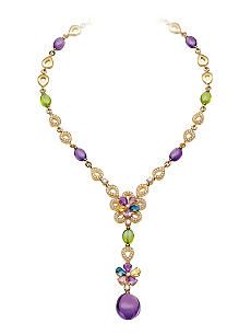 BVLGARI Sapphire Flora 18ct gold necklace with sapphires, peridots, amythst diamonds and pavé diamonds