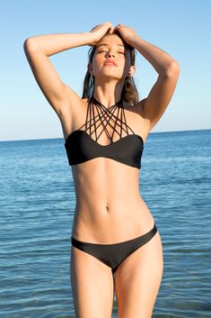 Mikoh Kahala Front criss cross halter bandeau top in night Great for a smaller chest. Sexy but it'll stay on when the waves come a'crashing