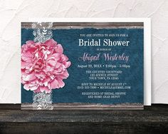 Pink Peony Denim and Lace Rustic Bridal Shower Invitations