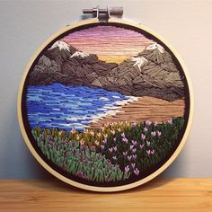 Blue Ridge Mountains  • SOLD • • • #embroidery #embroideryart #embroideredtop #embroideryhoopart #embroideryhoop #embroidered #etsy…