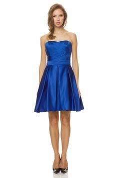 Princess seaming sculpts the strapless bodice of Bari Jay 1458 Bridesmaid Dress, decked with a modest sweetheart neckline and textured with side draping.