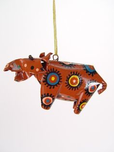 Hippo Ornament |  Handmade from recycled soda cans in Zimbabwe. $12