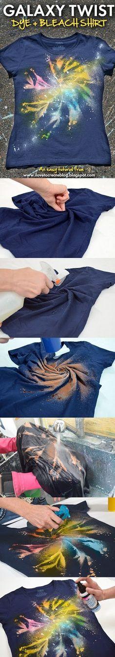 Diy Crafts Galaxy Twist Dye + Bleach Shirt using Tulip One-Step Spray Dye and Tulip Fabric Spray Paint, Diy, Diy Crafts, Top Diy Gebleichte Shirts, Bleach Shirts, Shibori, Crafts To Do, Crafts For Kids, Kids Diy, Decor Crafts, Ty Dye, Fabric Spray Paint