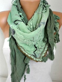 Green Ombre Scarf Oversize Scarf Shawl Scarf Cowl by fatwoman
