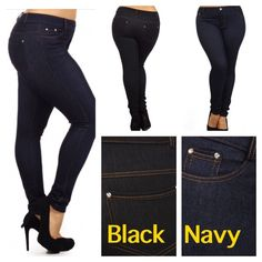 "BLACK OR BLUE DENIM LOOK JEGGINGS! Very soft, stretchy and the fabric looks like real denim. Very cute, choose black or blue. Pockets in front and back. 51.8% viscose, 44.6% polyester, 3.6% spandex.PLEASE DO NOT BUY THIS LISTING! I will personalize one for you.♦️I also have some other black ones with these measurements.  ♦️L/XL: waist 26-36"" hips 34-43"" rise 9.5"" inseam 29""♦️XL/XXL: waist 28-38"" hips 36-45"" rise 10"" inseam 29"" tla2 Other"