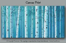 Birch tree wall art for blue home or office decor. Blends well with teal or turquoise. Artist - Denise Cunniff - ArtFromDenise.com. View more info at https://www.etsy.com/listing/243178712