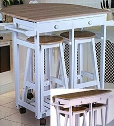 Rollbare Kitchen Bar with Folding Table and Two Stools