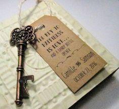 Key Bottle Opener Wedding Favor Set of 10 Skeleton by Pedoozle