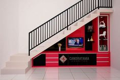 interior kediri minimalis, interior - New Ideas Cabinet Under Stairs, Room Under Stairs, Stairs In Living Room, House Stairs, Staircase Interior Design, Interior Stair Railing, Railing Design, Tv Unit Furniture Design, Tv Unit Design
