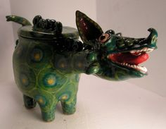 GREEN ORIENTAL DRAGON FOLK POT – Animal Face Jug – Spice Jar – Effigy Jar