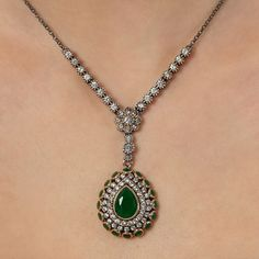 The Zerbap Rea Necklace with Zircon Emerald Stones by Rosestyle, $104.00