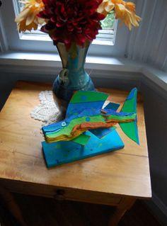Painted Fish Art  Handmade Wood Art  Original Table by FISHeFISH