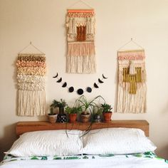 Weaving woven wall hanging tapestry by Maryanne Moodie. Www.maryannemoodie.com