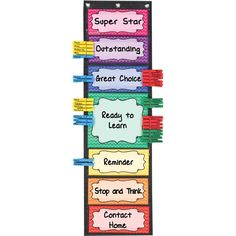 Really Good Stuff Classroom Behavior EZ-Tuck Clip 'N' Track Pocket Chart and Clothespins – Track Student Actions Easily Each Day Kindergarten Behavior Charts, Classroom Behavior Chart, Behavior Board, Behavior Clip Charts, Student Behavior, School Behavior Chart, Classroom Charts, Homeschool Kindergarten, Kids Behavior