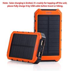 10000mah power bank equipped with a compact solar panel, which could recharge the battery itself under sunshine for emergency purpose while outdoor.Dual USB Port: 2A USB port for iPad/Tablets, 1A USB ports for cellphones or other devices.Superior portability design, easily hang it on your bag pack with the strap, hands-free on the go, enjoy power while camping traveling outdoor activities.Rain-splash design ensures the device function smoothly when it's raining.