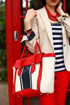 Red, navy, creamy beige and white; preppy perfection. #fashion #preppy #style