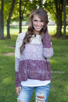 Breezy Back Cable Knit Sweater Maroon - The Pink Lily Boutique