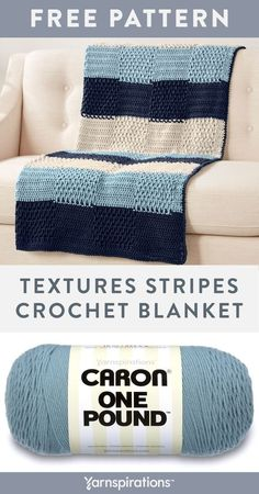 Free Textures Stripes Crochet Blanket pattern using Caron One Pound yarn. Wide stripes and a checkerboard of cozy textural stitches work together to make up this super snuggly throw. Simply shift textured stitches with plain double crochet stitches on the background of wide stripes. #yarnspirations #freecrochetpattern #crochetafghan #crochetblanket #crochetthrow #texturedblanket #caronyarn #carononepound