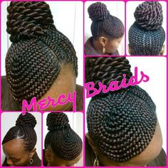 swoop bang updo with braided bun