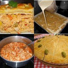 INGREDIENTES Massa: 500 ml de leite 250 ml de óleo de soja 3 xícaras de farinha de trigo 1 colher (café) de sal 4 ovos 2 colheres (café) de fermento 25 g de queijo parmesão ralado 1 pitada de orégano Recheio: 1 peito de frango grande cozido por... Cupcakes, Portuguese Recipes, Pasta, Carne, Macaroni And Cheese, Food And Drink, Yummy Food, Diet, Meals