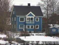 Swedish house. Love the colored homes in Sweden, red, yellow and blue.