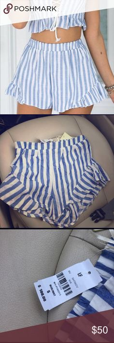LF- summer shorts Blue and white striped shorts by InTO. NWT LF Shorts