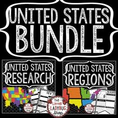 United States Research BUNDLE of Teach- Go Pennants! The United States Research Posters and Regions Posters are perfect for a quick interactive activity to study the states and regions of the United States. Your students will love researching and studying using these!