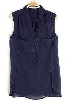 Blue V-neck Sleeveless Buttons Pockets Chiffon Blouse $29