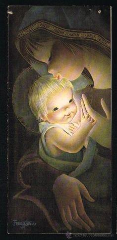 Tarjeta de felicitación de Navidad Años '60. Dibujos Ferrándiz.